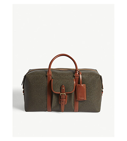 MULBERRY Heritage scotch-grain leather holdall (Mole-cognac