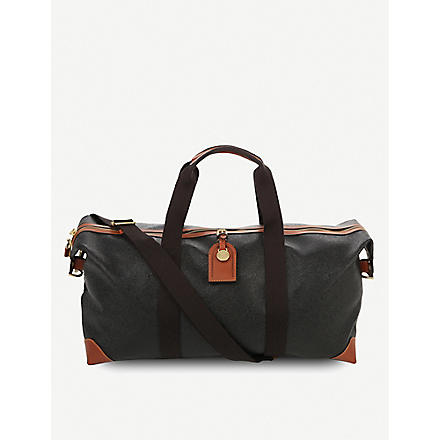 MULBERRY Scotchgrain medium clipper holdall (Black-cognac