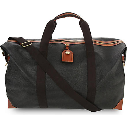 MULBERRY Scotchgrain large clipper holdall (Black-cognac