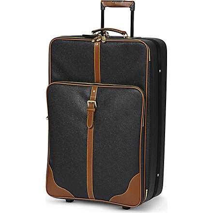 MULBERRY Scotchgrain large two-wheel suitcase 79cm (Black-cognac