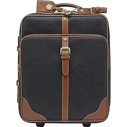 MULBERRY Scotchgrain two-wheel cabin suitcase (Black-cognac