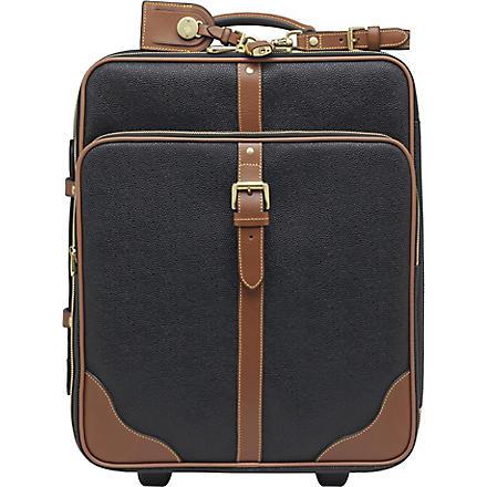 MULBERRY Scotchgrain two-wheel cabin suitcase (Black-cognac