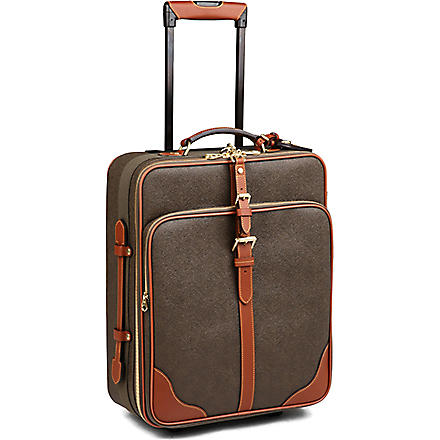 MULBERRY Scotchgrain two-wheel cabin suitcase (Mole-cognac