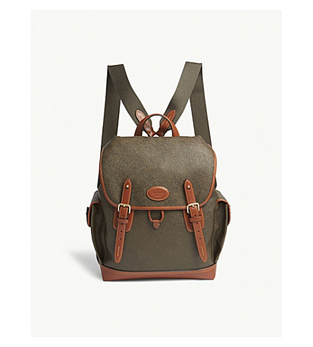 MULBERRY Heritage scotchgrain leather backpack (Mole-cognac