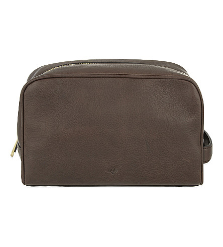 MULBERRY Leather wash bag (Chocolate