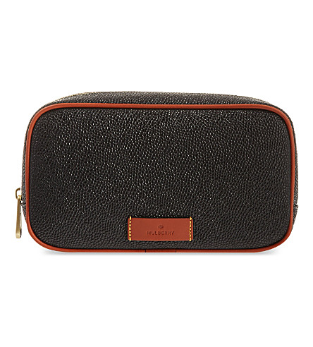 MULBERRY Scotchgrain wash bag (Black-cognac