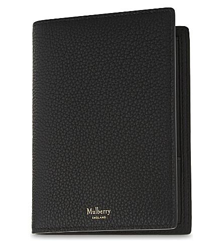 MULBERRY Grained leather passport wallet (Black