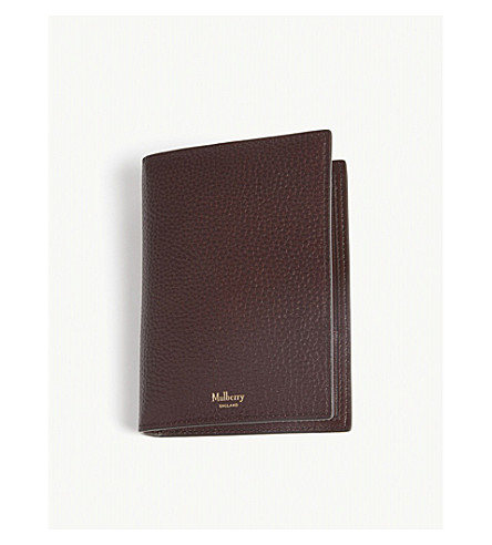 MULBERRY Logo vegetable-tanned leather passport cover (Oxblood
