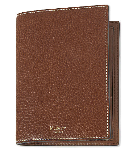 MULBERRY Grained leather passport wallet (Oak