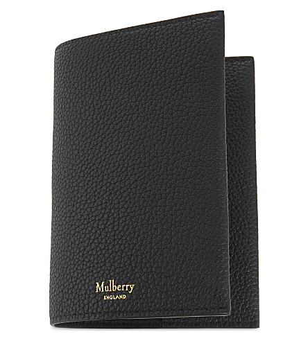 MULBERRY Classic small grained leather passport cover (Black