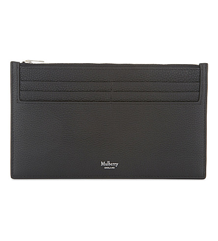 MULBERRY Small grained leather travel wallet (Black