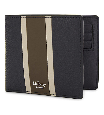 MULBERRY Grained leather card wallet (Midnight-chalk-moss
