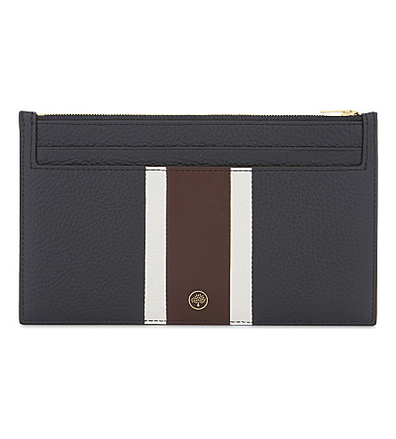MULBERRY College stripe leather travel card holder (Midnight-white-burgundy