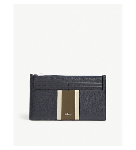 MULBERRY Striped leather travel wallet (Midnight-chalk-moss