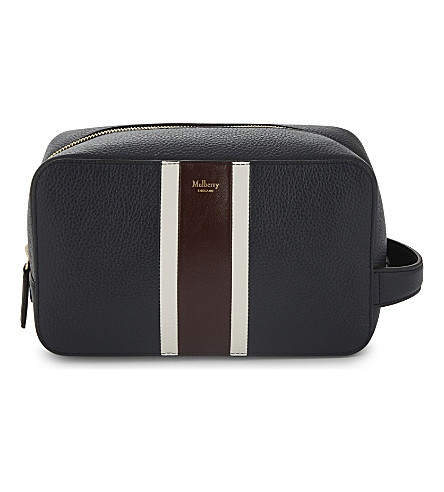 MULBERRY College stripe grained leather wash bag (Midnight-white-burgundy