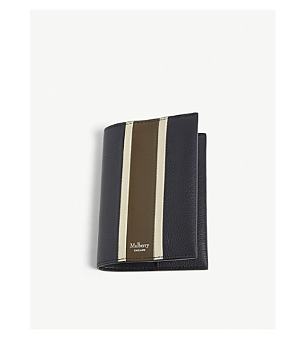 MULBERRY Striped leather passport cover (Midnight-chalk-moss