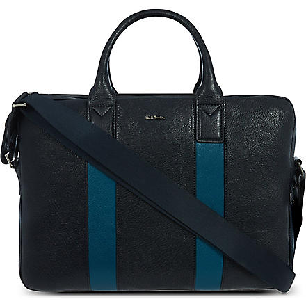 PAUL SMITH Colour-block leather folio bag (Navy/turquoise
