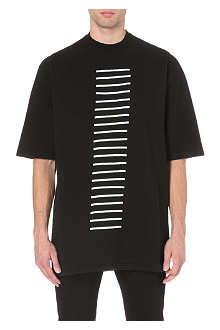 RICK OWENS Stripe-embroidered cotton-jersey t-shirt