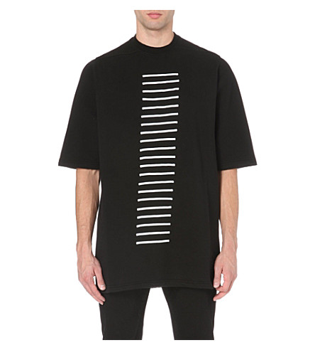 RICK OWENS Stripe-embroidered cotton-jersey t-shirt (Black/white