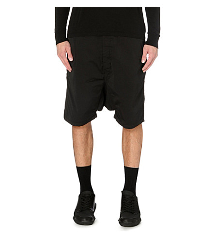 RICK OWENS Dropped-crotch shorts (Black
