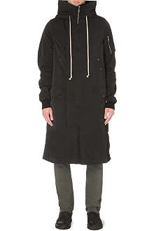 RICK OWENS Hooded long bomber coat