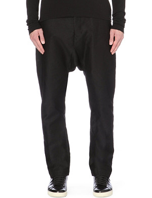 RICK OWENS Dropped-crotch cotton trousers