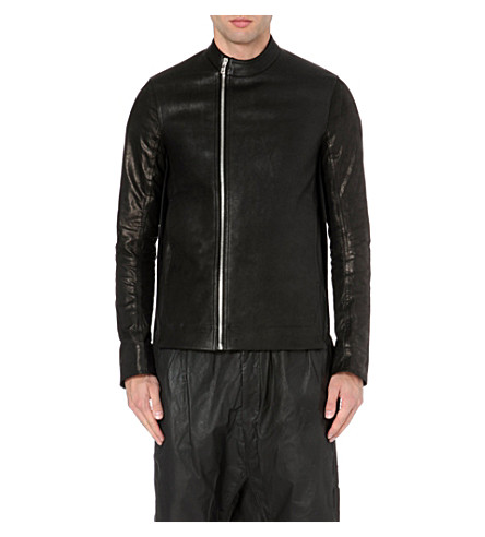 RICK OWENS Contrast back leather jacket (Black