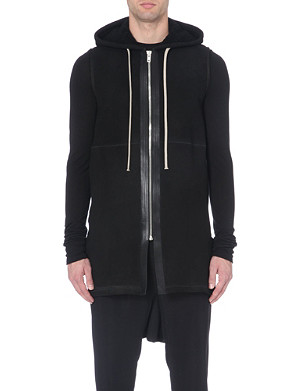 RICK OWENS Shearling and calf-leather gilet