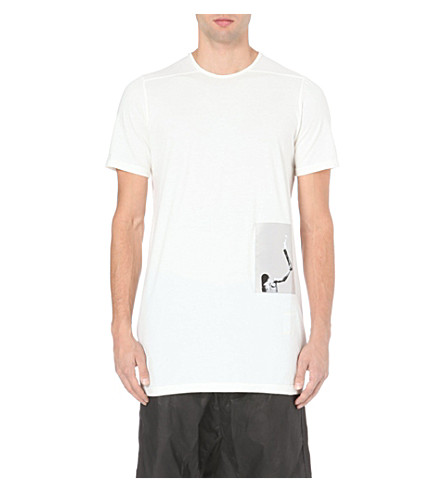 RICK OWENS Patch cotton-jersey t-shirt (White
