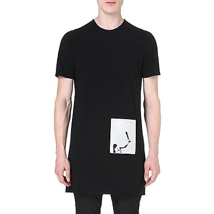 RICK OWENS Patch cotton-jersey t-shirt (Black