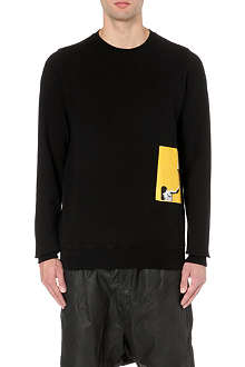 RICK OWENS Silhouette patch cotton sweatshirt