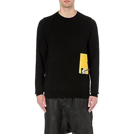 RICK OWENS Silhouette patch cotton sweatshirt (Black
