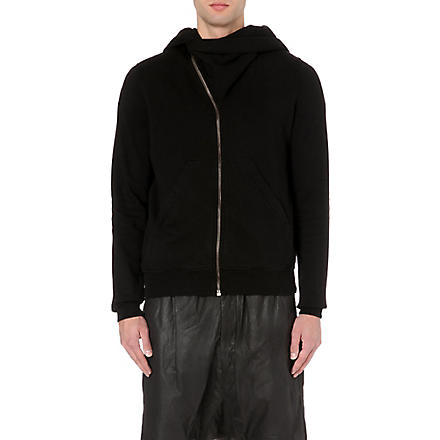 RICK OWENS Mountain asymmetrical  zip-up hoody (Black