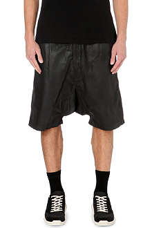 RICK OWENS Dropped-crotch coated-cotton shorts