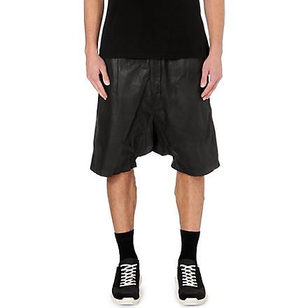 RICK OWENS Dropped-crotch coated-cotton shorts (Black