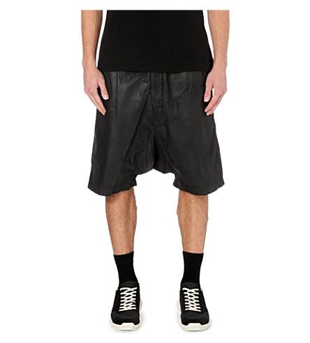 RICK OWENS Dropped-crotch coated-cotton shorts (Black