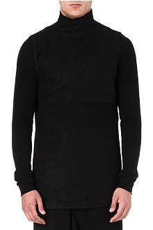 RICK OWENS Leather panel roll-neck top