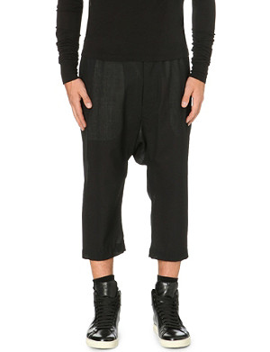 RICK OWENS Dropped crotch cropped trousers