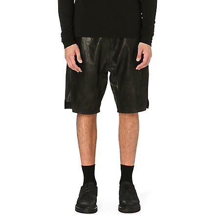RICK OWENS Leather shorts (Black