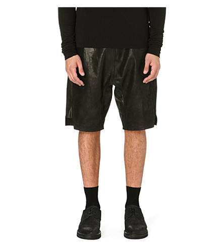 RICK OWENS Leather shorts (Black