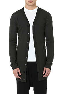 RICK OWENS Long merino wool cardigan