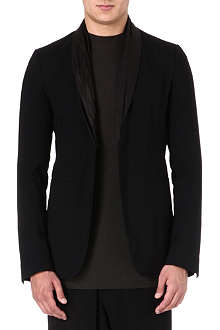 RICK OWENS Leather collar tuxedo blazer