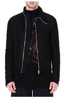RICK OWENS Asymmetric suede jacket