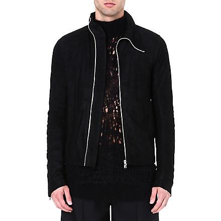 RICK OWENS Asymmetric suede jacket (Black