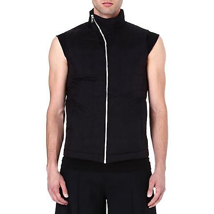 RICK OWENS Asymmetric zip gilet (Black