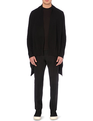 RICK OWENS Draped knitted cotton cardigan