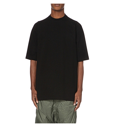 RICK OWENS High-neck cotton-jersey sweatshirt (Black