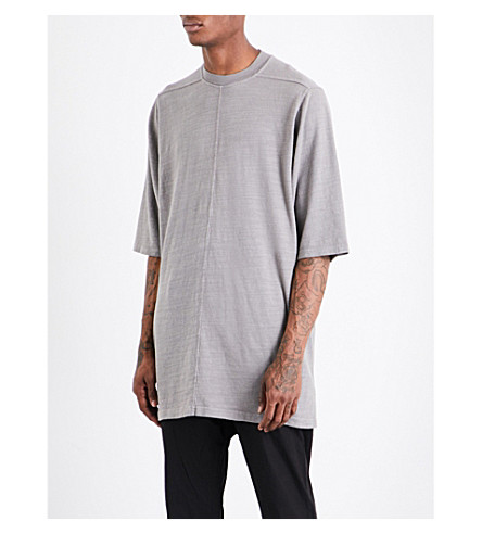 RICK OWENS DRKSHDW Dropped-shoulder cotton-jersey T-shirt (Grey