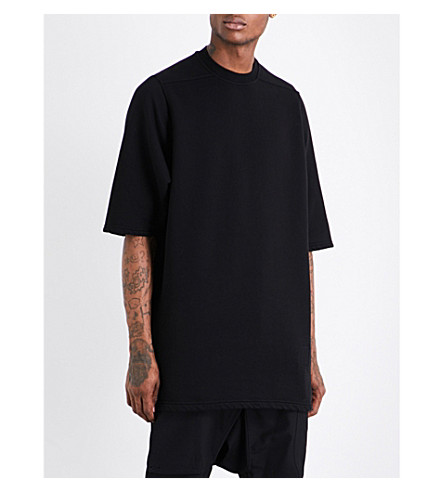 RICK OWENS DRKSHDW Dropped-shoulder cotton-jersey T-shirt (Black