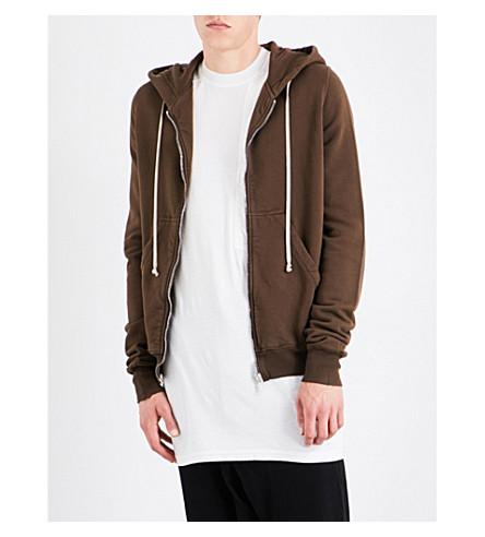 RICK OWENS DRKSHDW Branded cotton-jersey hoody (Caramel